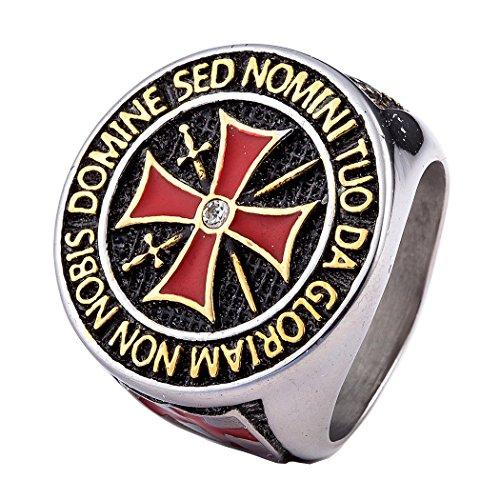 Coostuff 316L stainless steel titanium mens rings, Knights Templar cross sword religion ring men