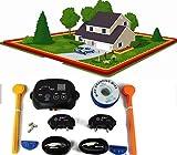 PATPET Valla Invisible y Collares antifuga para 2 Perros/área Grande de la Cobertura para el Radio 300 Metros/3 Diversos Niveles/Seguro y fácil instalan