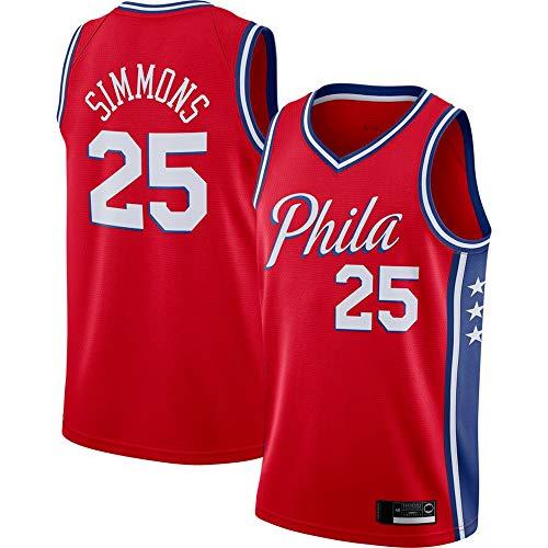 Jerseys De Baloncesto De Los Hombres, Philadelphia 76Ers # 25 Ben Simmons - NBA Classic Comfort Quick-Secking Secado Sin Mangas Sin Mangas Tops Camiseta Uniformes,Rojo,XXL(185~190CM)