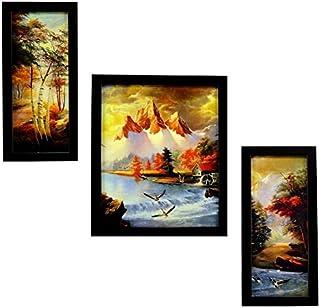Indianara Set of Wooden Framed Wall Hanging Art -3 Piece