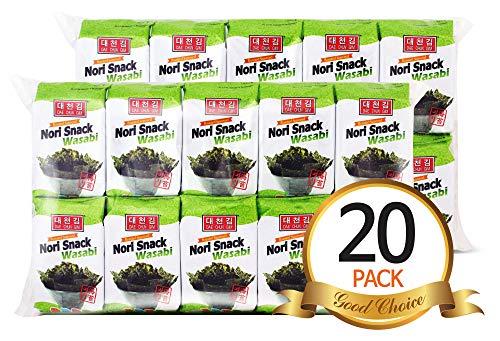 Daechun(Choi''s1) Wasabi Seaweed Snacks, 20 Pack, Product of Korea