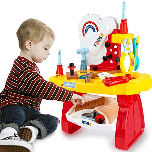 UNIH Toddler Tool Bench for Ages 3 4 5 Boys Girls, Toddler Workbench Toy Set for Kids Pretend Play Learning Toy Tool Set, Kids Construction Work Shop Tools Toys for 2 Year Old Boys Gift