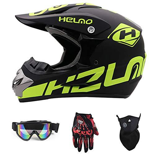 Persönlichkeit Downhill-Helm Geschenke Brillen Maske Handschuhe Mountainbike Vollkörper-Helm MX ATV-Straßenrennsicherheit Hut,E,L