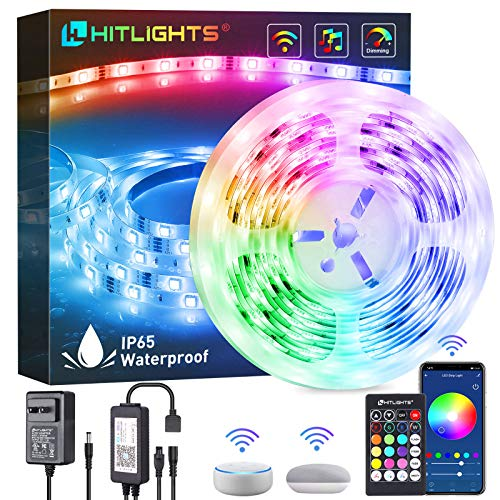 LED Strip Lights, HitLights 16.4ft WiFi APP Control Smart LED Strip Lights, Waterproof Music Sync 16 Million Colors RGB Tape Lights for Room Home Kitchen TV Party Halloween, Christmas