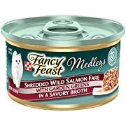 Purina Fancy Feast Broth Wet Cat Food, Medleys Shredded Wild Salmon Fare With Greens - (24) 3 oz. Cans