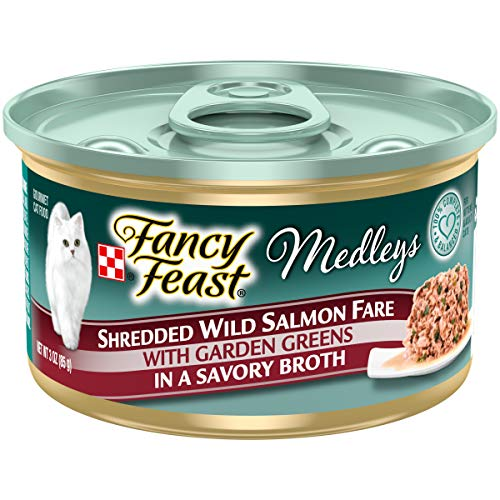 Price comparison product image Purina Fancy Feast Broth Wet Cat Food,  Medleys Shredded Wild Salmon Fare With Greens - (24) 3 oz. Cans
