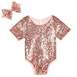 Cilucu Toddler Girls Romper Sequin Short Sleeve Infant Girls Birthday Party Outfits Sets Kids Sparkly Summer Onesies Easter Christmas Rose Gold Blush Pink Size 12-18 Months