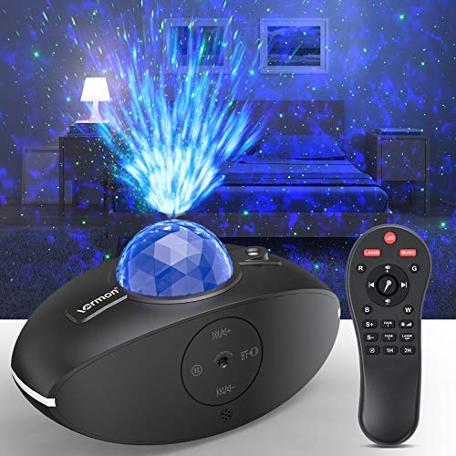 Star Projector Night Light, LED Galaxy Star Light Projector Bedroom Night Light, 360°Rotating Sleep Soothing Ocean Wave Star Sky Projector Light with Bluetooth Music Speaker, Remote Control, Timer
