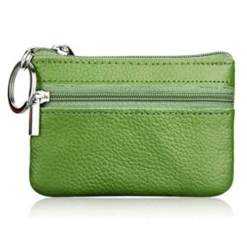 YaJaMa Echtleder Klein Schlüsselmäppchen Schlüsseletui Schlüsseltasche Schlüsselbörse Geldbörse mit Schlüsselring (Grün)