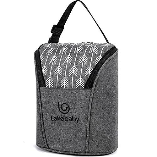 Lekebaby Breastmilk Baby Cooler Bag Baby Bottle Holder Insulated Baby Bottle Tote Bags Fits 2 Bottles 9 Ounce Great for Nursing Mom Daycare Grey with Arrow Print