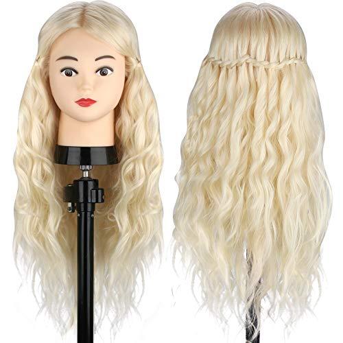 MYSWEETY Mannequin Kopf Hair Frisierkopf Übungskopf 70% Echtes Haar Kosmetologie Puppe Kopf Echtes Haar Friseur Training Modell mit Klemmhalter Frisierkopf für Kinder