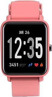 Pulsera Actividad, Pulsera Inteligente con Pulsómetro Monitor De Actividad Impermeable IP68 Mujer Hombre Reloj Fitness Podómetro Notificación De SMS para Android Y iOS Teléfono Móvil,Pink