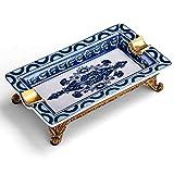 WTH Bocchino Portacenere Ceramica Ceramica Vassoio di Cenere Blu e Bianco Modello di Porcellana Blu portacenere Rame scanalatura intagliata Porta Frassino per Fumatori Porta Cenere