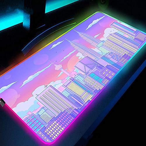 Alfombrilla de ratón RGB para Juegos - Pink Purple Tokyo Cityscape - Alfombrilla de ratón LED Rosa Grande extendida con 14 Modos de iluminación para Juegos de PC 600×300 MM
