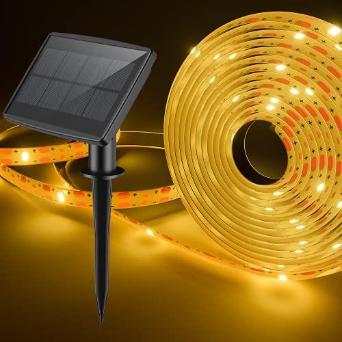 Striscia LED Solare 5M Strisce LED con 2 modalità Illuminazione IP65 Impermeabile Fredda 100LED Striscia Flessibile Perfetto per Interno e Esterno Decorazione per Festa, Giardino, Cucina