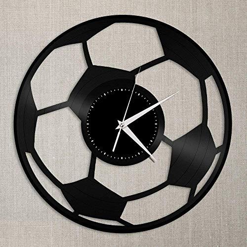 Reloj de Pared de Madera Pelota de fútbol Reloj de Pared de Vinilo Adornos Grandes decoración de la habitación del hogar diseño Retro Oficina Bar habitación decoración del hogar