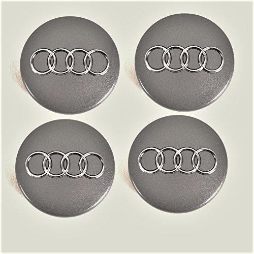 Nabenkappen 4B0601170 für AUDI, Set 4-teilig Grau-Mettalic 60mm Satz 4x Stück, Radkappe Felgendeckel Felgenkappe
