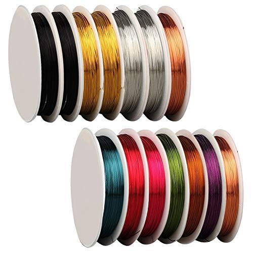 Paquete de 14 alambres para joyería para hacer suministros y manualidades (calibre 26, 10 yardas)