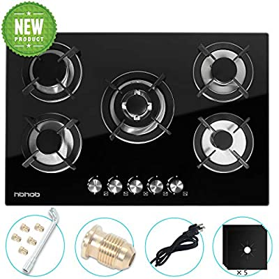 "Gas Cooktop 30"" inches Gas Cooktop Tempered Glass Built in Gas Stove 5 Burners Gas Stoves Cooktop (5 Sealed Burners) Stove Burner Cast Iron Grate Stove-Top LPG/NG Dual Fuel Thermocouple Protection and"