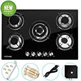 Gas Cooktop 30' inches Gas Cooktop Tempered Glass Built in Gas Stove 5 Burners Gas Stoves Cooktop (5 Sealed Burners) Stove Burner Cast Iron Grate Stove-Top LPG/NG Dual Fuel Thermocouple Protection and