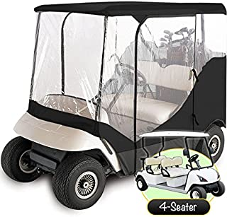 North East Harbor Waterproof Superior Black and Transparent Golf CART Cover Covers Enclosure Club CAR, EZGO, Yamaha, FITS Most Four-Person Golf CARTS