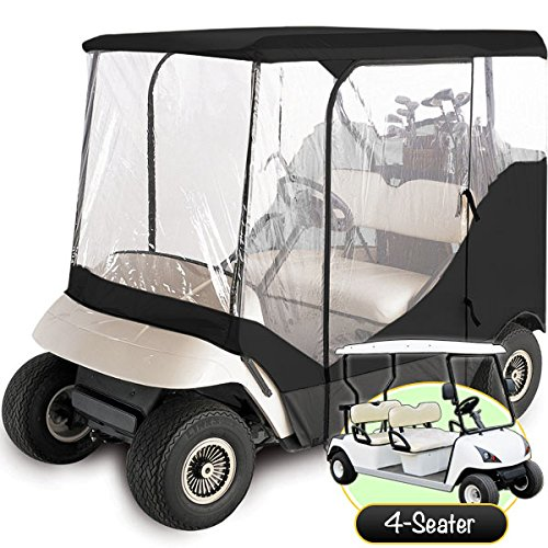 North East Harbor Waterproof Superior Black and Transparent Golf CART Cover Enclosure for Club CAR, EZGO, Yamaha, FITS Most Four-Person Golf CARTS + KapscoMoto Keychain