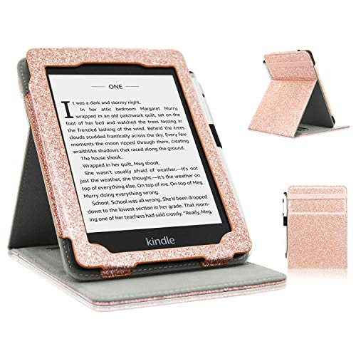 ACdream Kindle Paperwhite Case (10th Generation-2018), Stand Leather Wallet Cover Case for All New and Previous Kindle Paperwhite with Auto Wake Sleep Feather [Bonus Stylus], Glitter Rose Gold