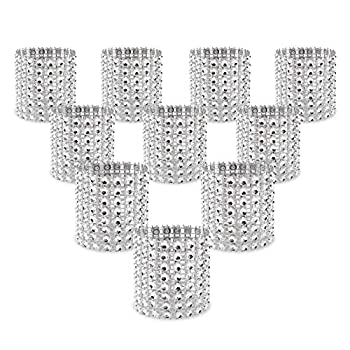 KPOSIYA Napkin Rings Pack of 120 Rhinestone Napkin Rings Diamond Adornment for Place Settings Wedding Receptions Dinner or Holiday Parties Family Gatherings  120 Silver