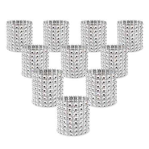 KPOSIYA Napkin Rings, Pack of 60 Rhinestone Napkin Rings Diamond Adornment for Place Settings, Wedding Receptions, Dinner or Holiday Parties, Family Gatherings (60, Silver)