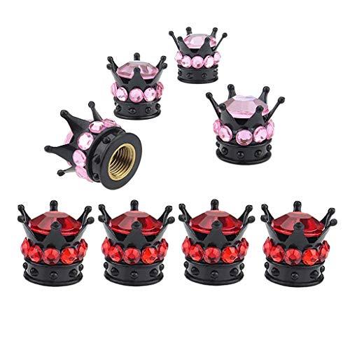 #N/a Paquete de 8 Tapas de Aire de Vástago de Válvula de Rueda de Neumático de Corona Roja Y Rosa