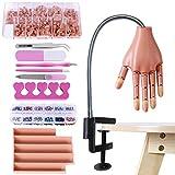BenkerEsti - Mano manichino con kit per applicazione smalto su unghie in acrilico, per esercitarsi nella decorazione delle unghie