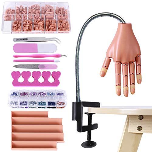 BenkerEsti - Mano de práctica para manicura acrílica, maniquí de mano y kit para práctica de uñas – plateado