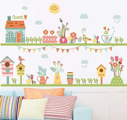 Kyzaa muurstickers, motief cartoon, bloempot, muurstickers, ramen, afneembaar, vliegtuig, papier, voor woonkamer / huis