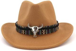 Fashion Hats, Caps,Elegant Hats, Natural Caps Men Women Western Cowboy Hat with Cow Head Band Wide Brim Hat Pop Hat Fedora Hat (Color : Coffee, Size : 56-58)