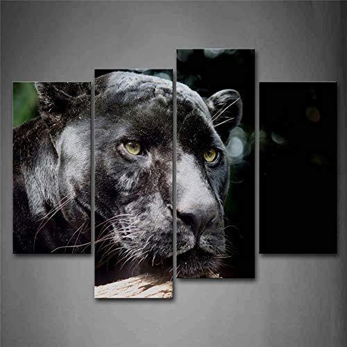 Cabeza de Pantera Negra Retrato de Madera Arte de la Pared Pintura La Imagen Impresa en Lienzo Imágenes de Animales para la decoración del hogar Decoración A
