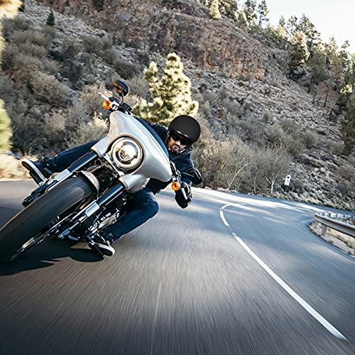 Auboa Half Helmet Motorcycle Men, Cycling Motocross Cruiser Open Face Helmet Sun Visor Quick Dual Adjuster DOT (Matte Black, L)