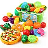 CRAZY LEDI Play Food and Cutting Food Toy Sets of Children's Fruits and Vegetables Kitchen Toys, Fruit Play Kitchen Accessories Toys and Toy Food Simulation Education Kitchen Toys Over 3 Years Old