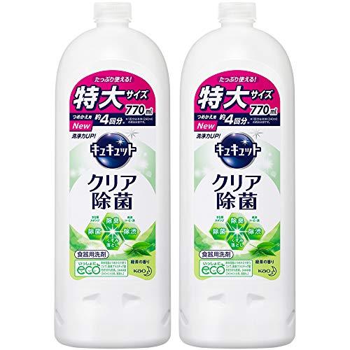 【まとめ買い】キュキュット 食器用洗剤 クリア除菌 緑茶の香り 詰め替え770ml × 2個
