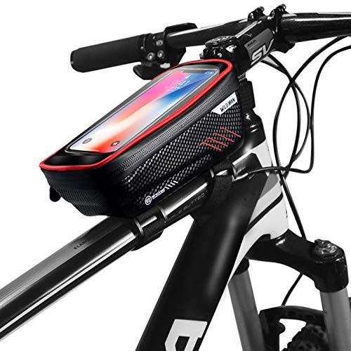 AKlamater Bolsa de marco de bicicleta, bolsa impermeable para bicicleta, bolsa para bicicleta, bolsa para pantalla táctil frontal, bolsa para teléfono inteligente de 6.5 pulgadas (rojo)