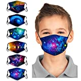 6Pcs Kids Reusable Face Bandanas Galaxy Painted Washable Adjustable Earloop Bandanas Face Cotton Dust Protection for Toddlers Children
