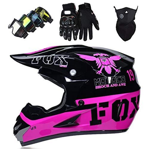 Casco de Motocross para Niño y Niña, Cascos de Cross de Moto Rosa Negro con Diseño FOX, Set de Casco MTB Integral para Downhill Carreras ATV Enduro Minimoto con Gafas Guantes y Máscara