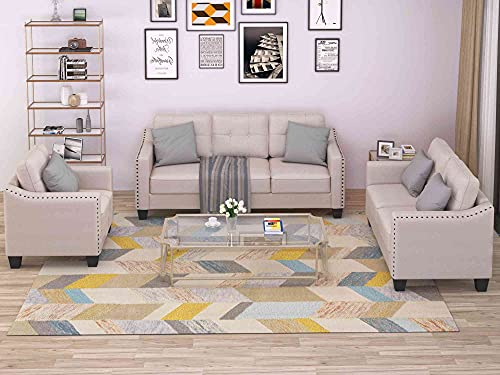 Cotoala Sectional, Button Tufted 3 Piece, Couch Set for Living Room Loveseat and Armchair, (1+2+3 Sofa), Beige