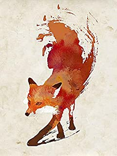 Vulpes Vulpes Robert Farkas Illustration Fantasy Animal Fox Poster, Overall Size: 20x26, Image Size: 18x24