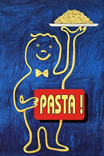 "Happy Cook Chef Kitchen Pasta Spaghetti Food Italy Italia Italian Vintage Poster Repro (12"" X 16"" Image Rolled Up CANVAS)"