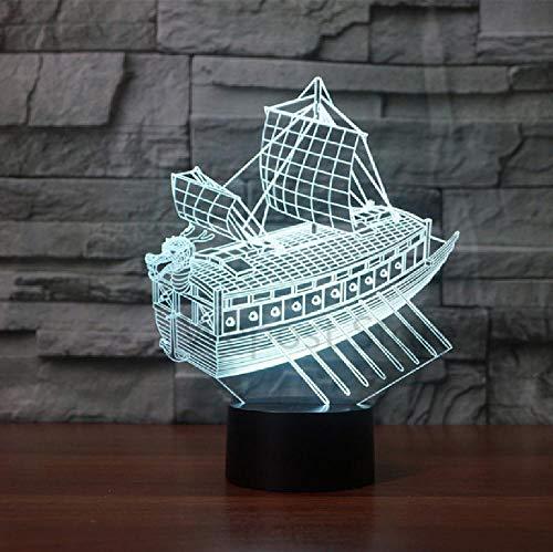 Ancient Sailing Boat 3D Luz de noche Led 7 Color Cambiante USB Lámpara Sentada Luces de Ahorro de Energía