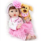 Aori Reborn Baby Doll Realistic Baby Dolls Girl 22 Inch Newborn Lifelike Dolls in Soft Vinly and Weightd Body with Little Puppy Gift Set