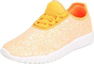 Cambridge Select Women's Closed Toe Glitter Encrusted Lace-Up Casual Sport Fashion Sneaker