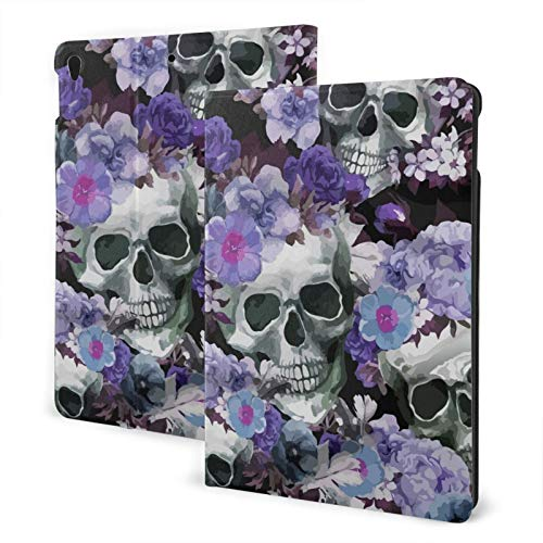 Compatible with Ipad 7th 10.2 Ipad Case Apple Generation Skull Rose Screen Protector Mini Case 2020 Shock Proof Full Protective Standing Cover Lightweight Fold Auto Wake/Sleep