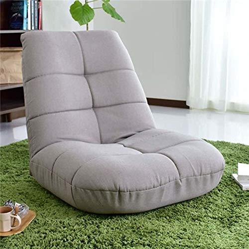 INTER FAST Japanischer Stuhl für die Freizeit, zusammenklappbar, verstellbar, Leinenstoff, Polstermöbel, Wohnzimmermöbel, moderner Relaxsessel, gelegentlicher Stuhl (Farbe: Grau)