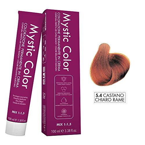 Mystic Color - Crème Colorante Permanente à l'Huile d'Argan et au Calendula - Coloration Longue Durée - Couleur Brun Auburn Clair 5.4 - 100ml